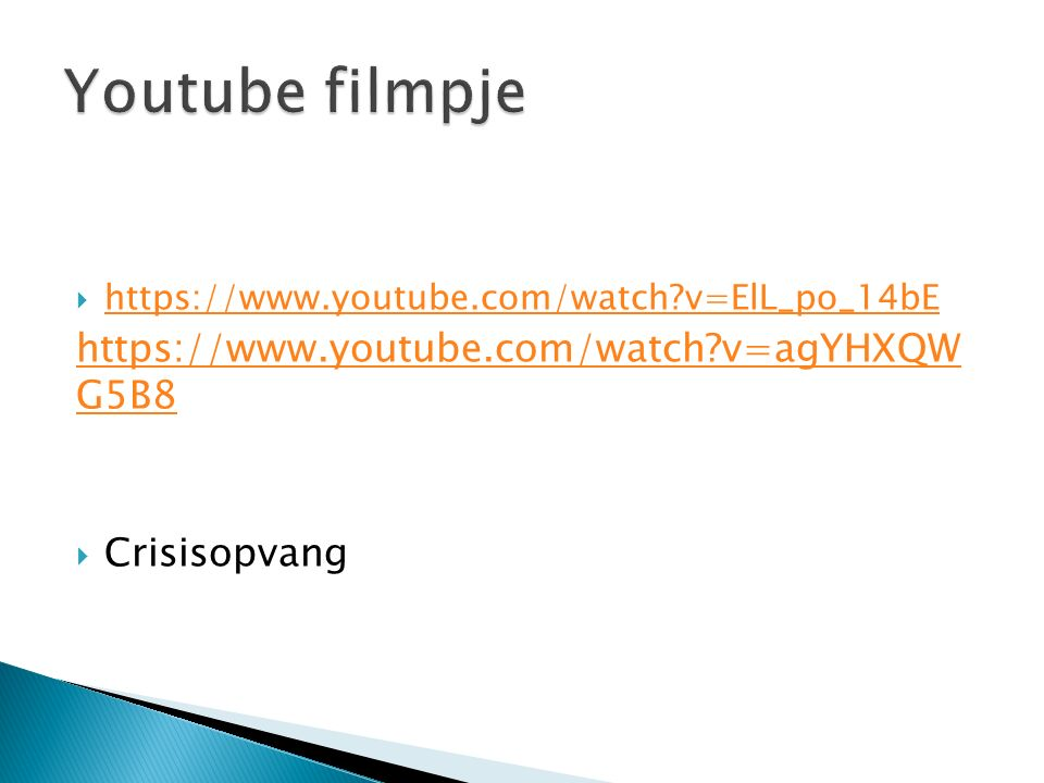 Youtube filmpje https://www.youtube.com/watch v=agYHXQW G5B8