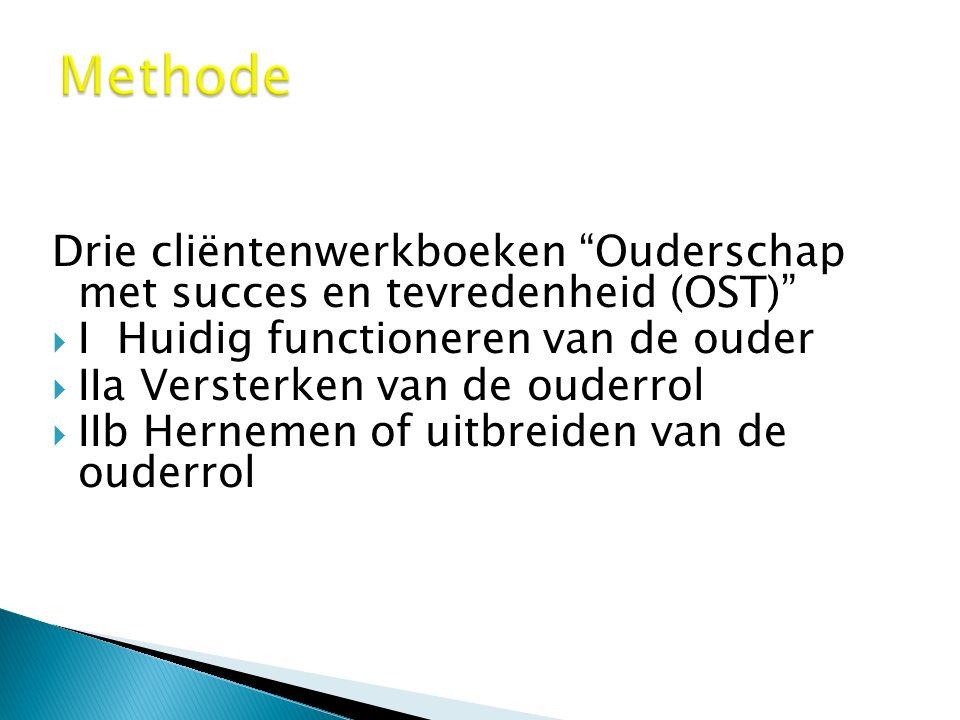 Methode Drie cliëntenwerkboeken Ouderschap met succes en tevredenheid (OST) I Huidig functioneren van de ouder.