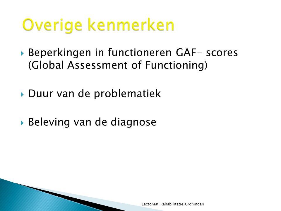 Overige kenmerken Beperkingen in functioneren GAF- scores (Global Assessment of Functioning) Duur van de problematiek.