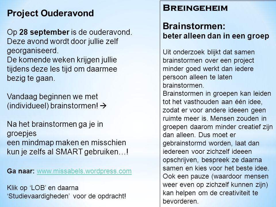 Breingeheim Project Ouderavond Brainstormen: