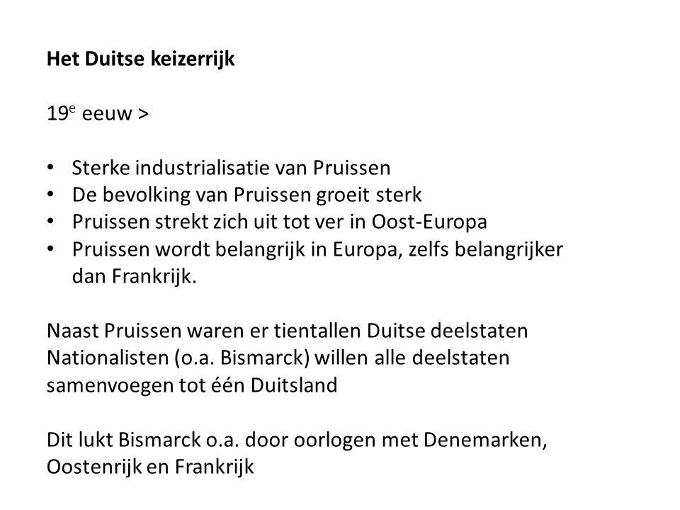 Het Duitse keizerrijk 19e eeuw > Sterke industrialisatie van Pruissen. De bevolking van Pruissen groeit sterk.