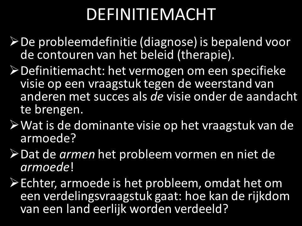 DEFINITIEMACHT De probleemdefinitie (diagnose) is bepalend voor de contouren van het beleid (therapie).