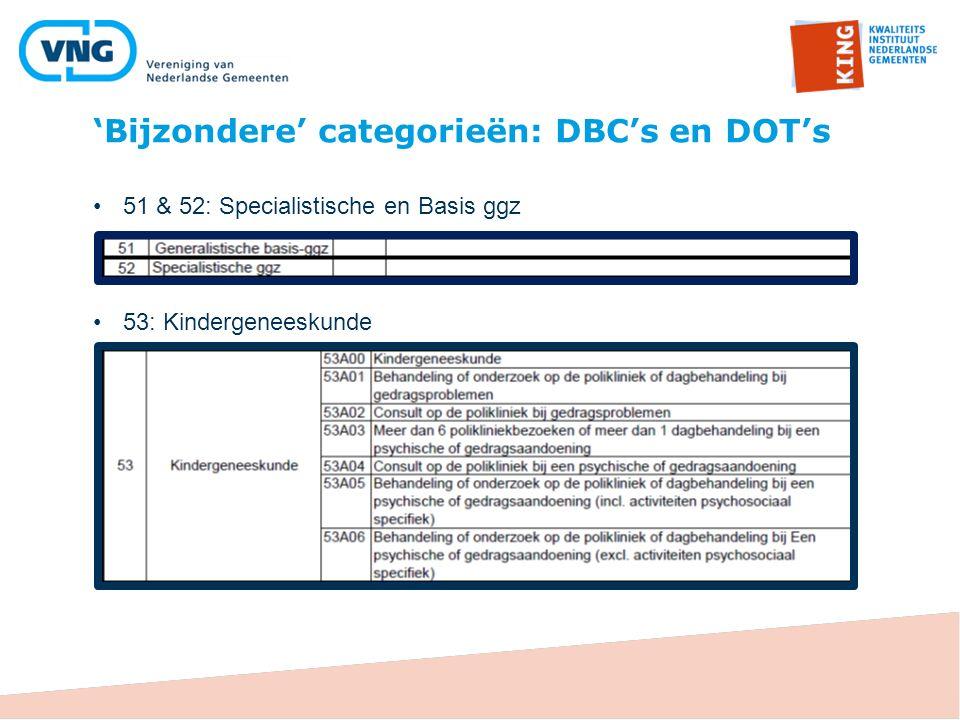 'Bijzondere' categorieën: DBC's en DOT's