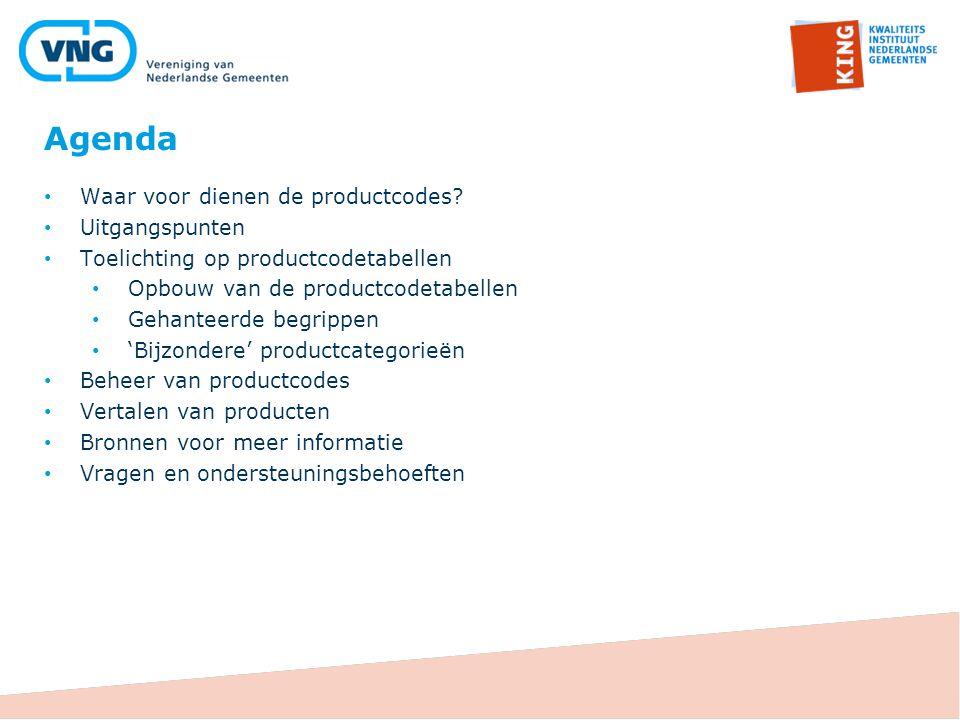 Agenda Waar voor dienen de productcodes Uitgangspunten