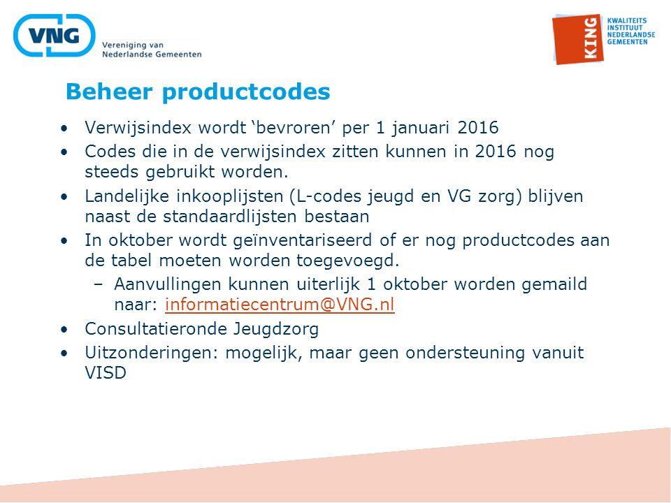 Beheer productcodes Verwijsindex wordt 'bevroren' per 1 januari 2016