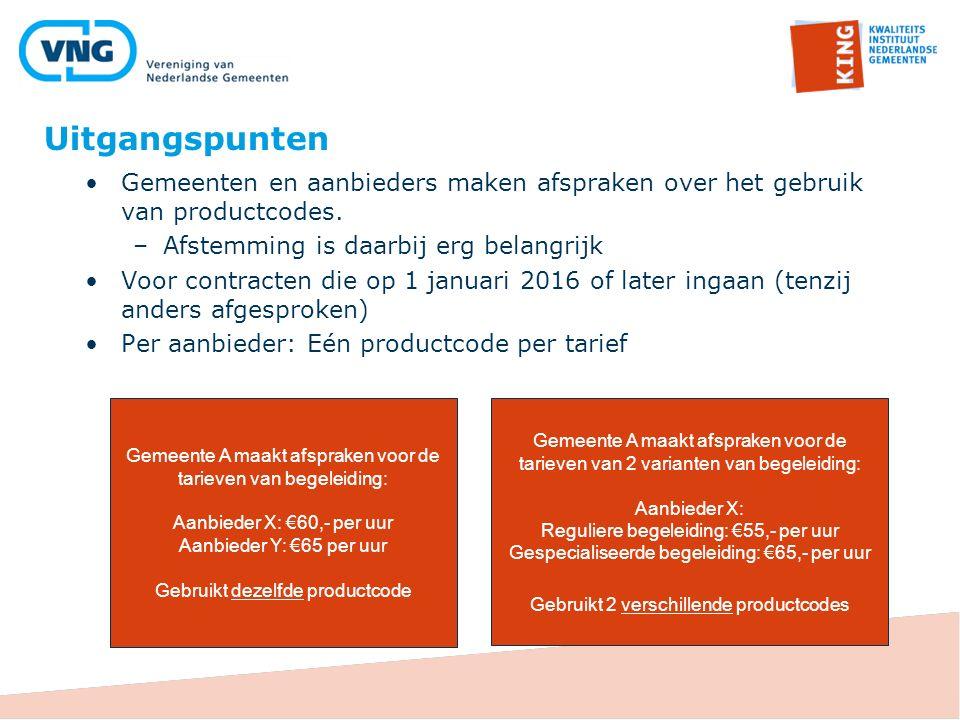 Uitgangspunten Gemeenten en aanbieders maken afspraken over het gebruik van productcodes. Afstemming is daarbij erg belangrijk.