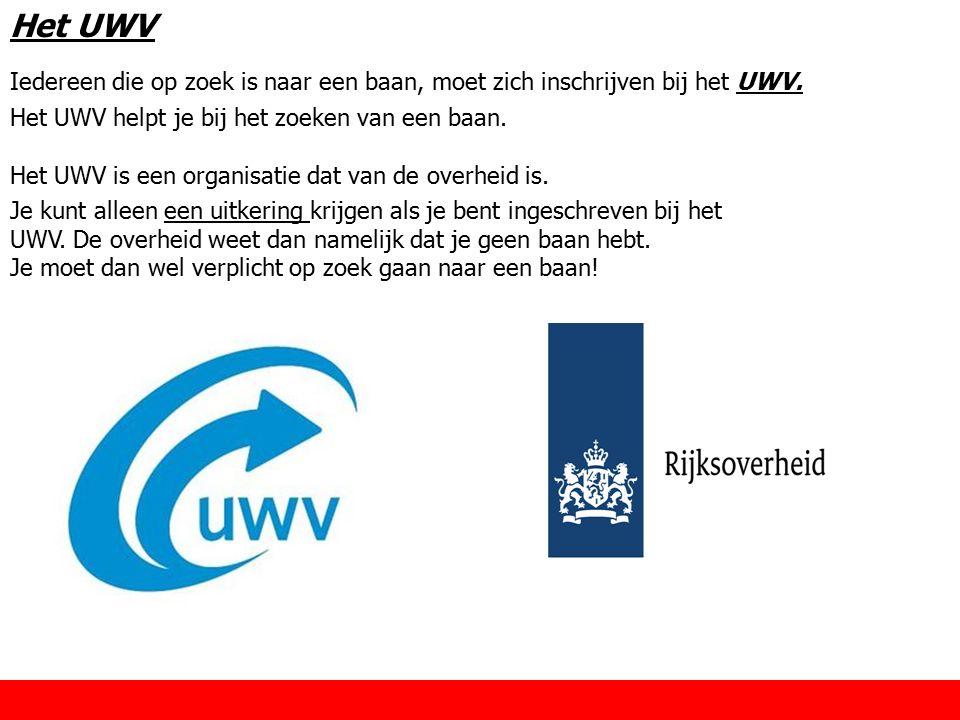 Het UWV Iedereen die op zoek is naar een baan, moet zich inschrijven bij het UWV. Het UWV helpt je bij het zoeken van een baan.