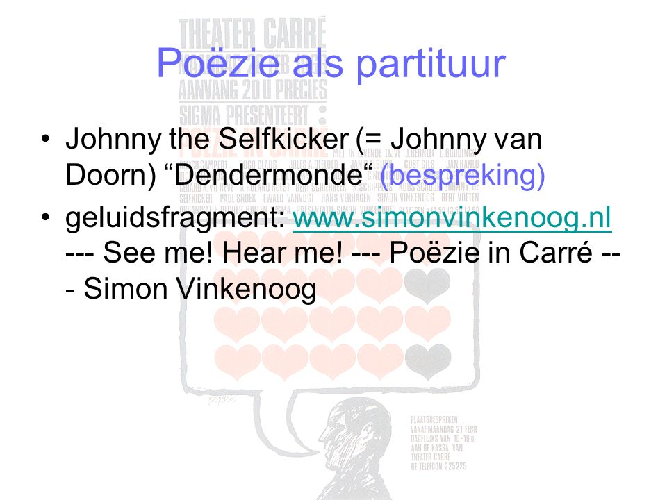 Poëzie als partituur Johnny the Selfkicker (= Johnny van Doorn) Dendermonde (bespreking)