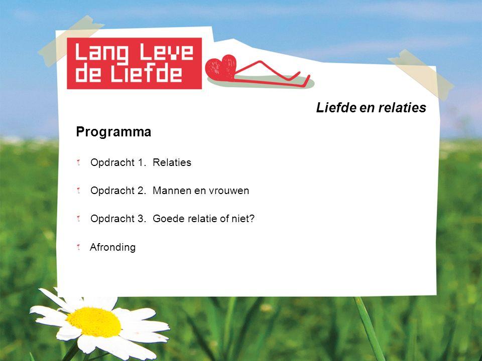 Liefde en relaties Programma Opdracht 1. Relaties