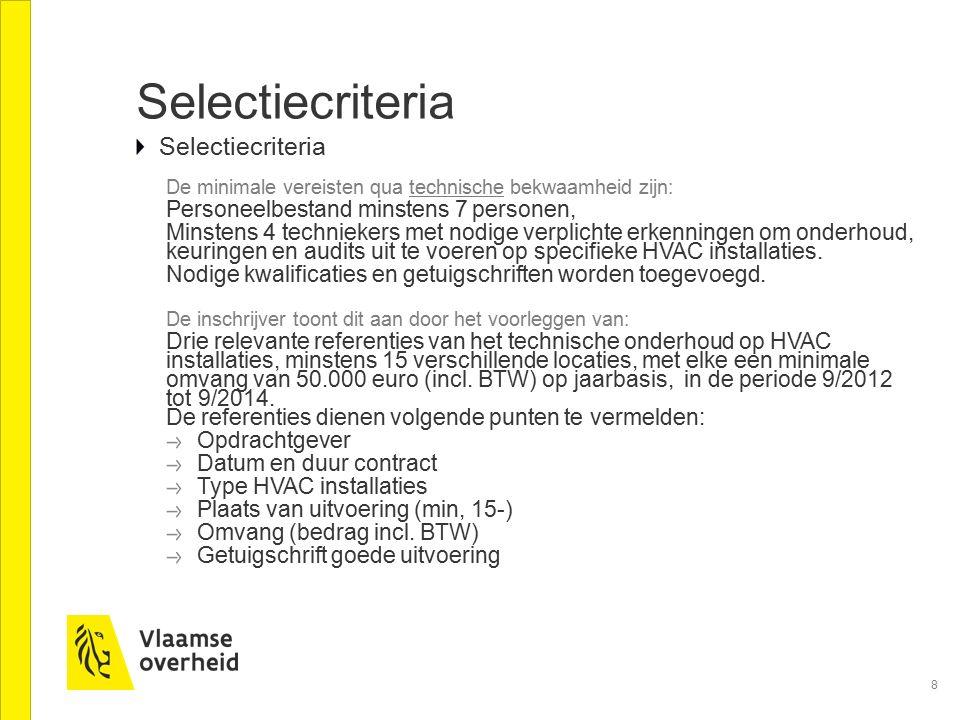 Selectiecriteria Selectiecriteria