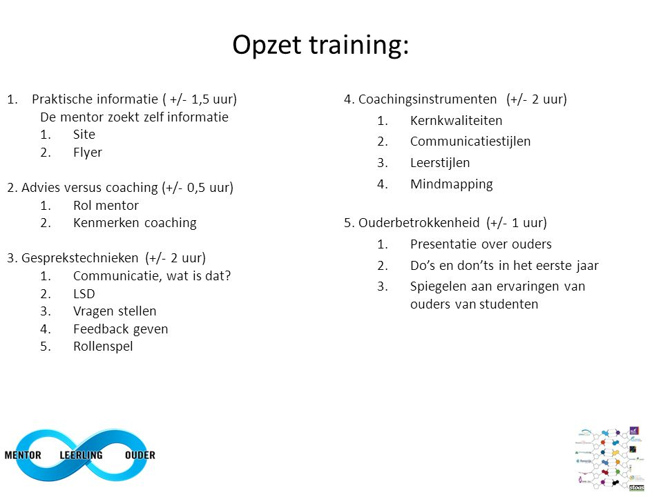 Opzet training: Praktische informatie ( +/- 1,5 uur)