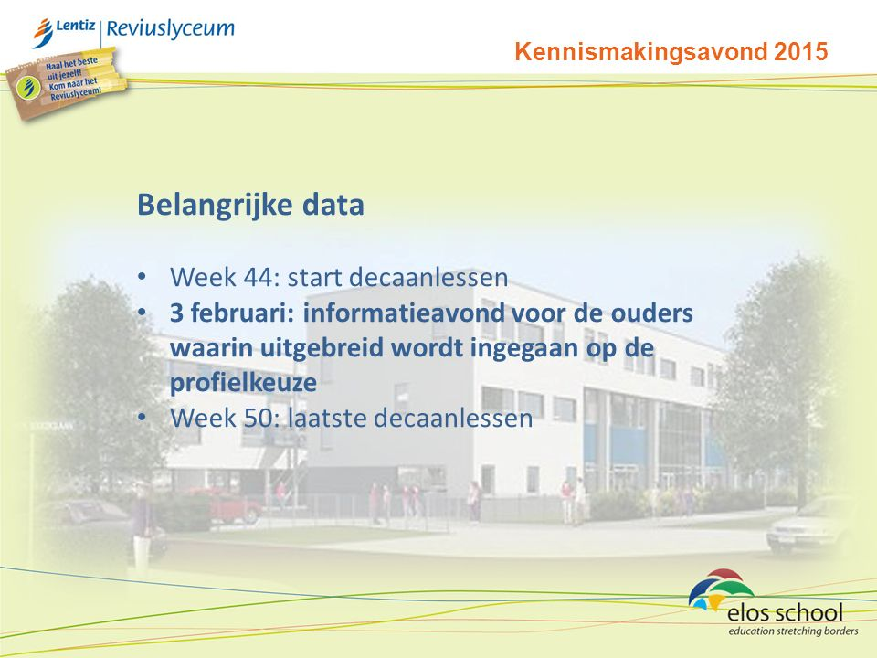 Belangrijke data Week 44: start decaanlessen