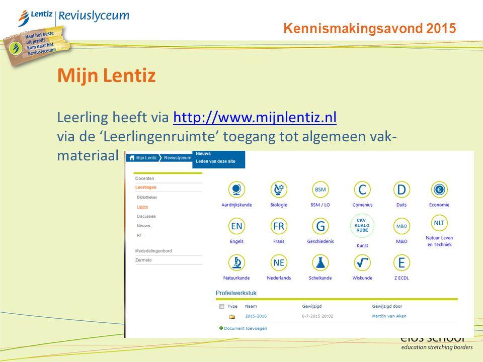Mijn Lentiz Leerling heeft via http://www.mijnlentiz.nl