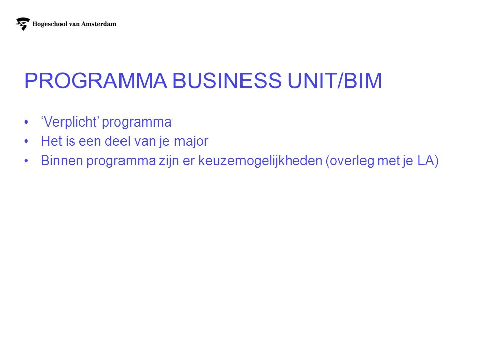 Programma Business Unit/BIM