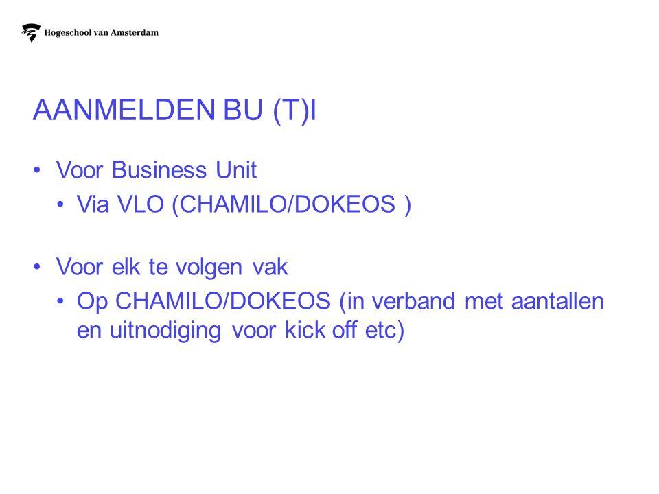 Aanmelden BU (T)I Voor Business Unit Via VLO (CHAMILO/DOKEOS )