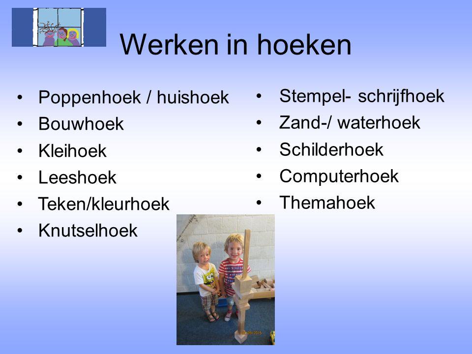 Werken in hoeken Poppenhoek / huishoek Stempel- schrijfhoek Bouwhoek