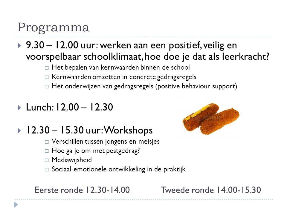 Programma 9.30 – 12.00 uur: werken aan een positief, veilig en voorspelbaar schoolklimaat, hoe doe je dat als leerkracht