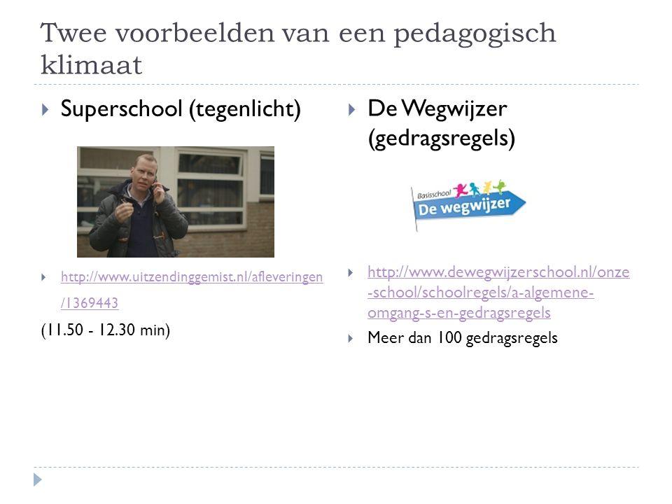 Twee voorbeelden van een pedagogisch klimaat