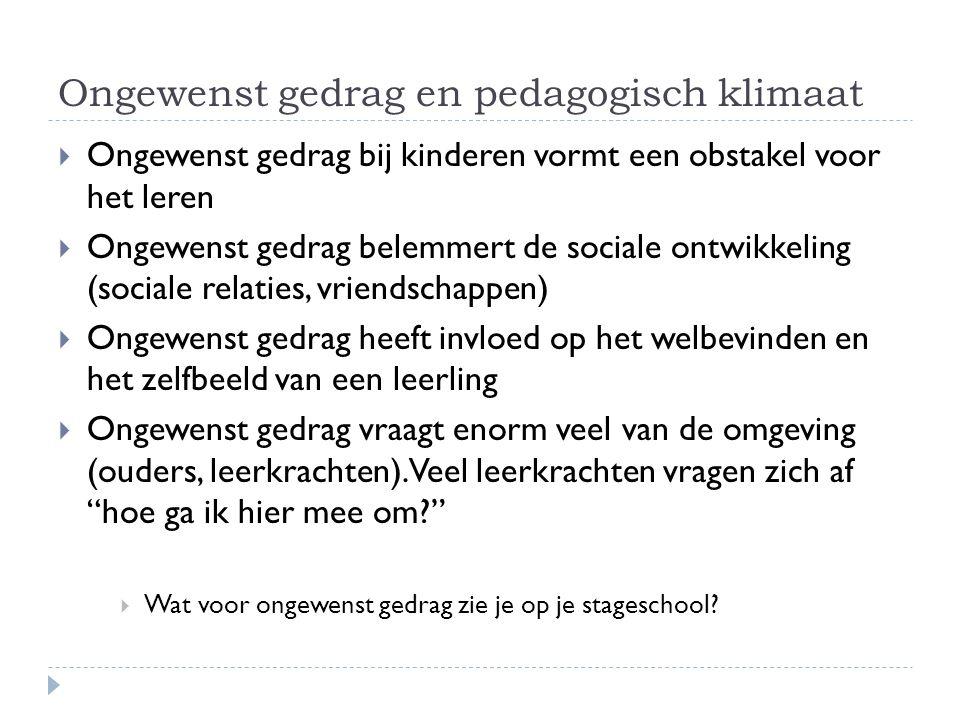 Ongewenst gedrag en pedagogisch klimaat