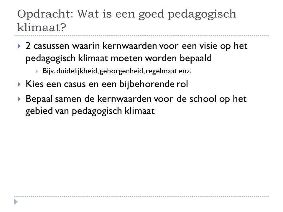 Opdracht: Wat is een goed pedagogisch klimaat