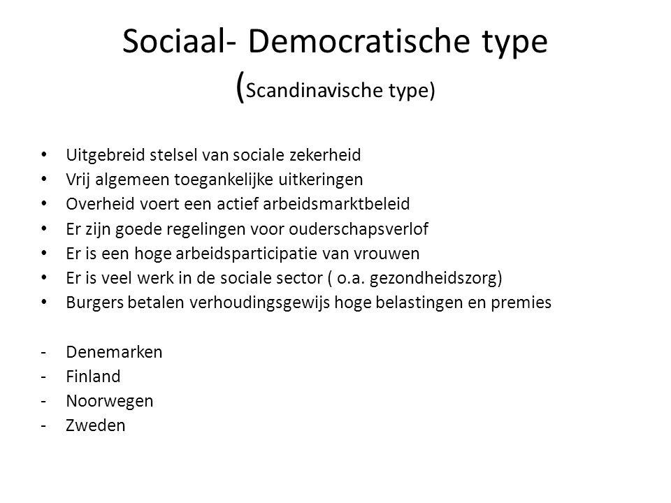 Sociaal- Democratische type (Scandinavische type)