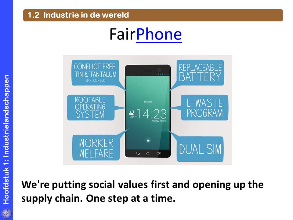 1.2 Industrie in de wereld FairPhone. Hoofdstuk 1: Industrielandschappen.