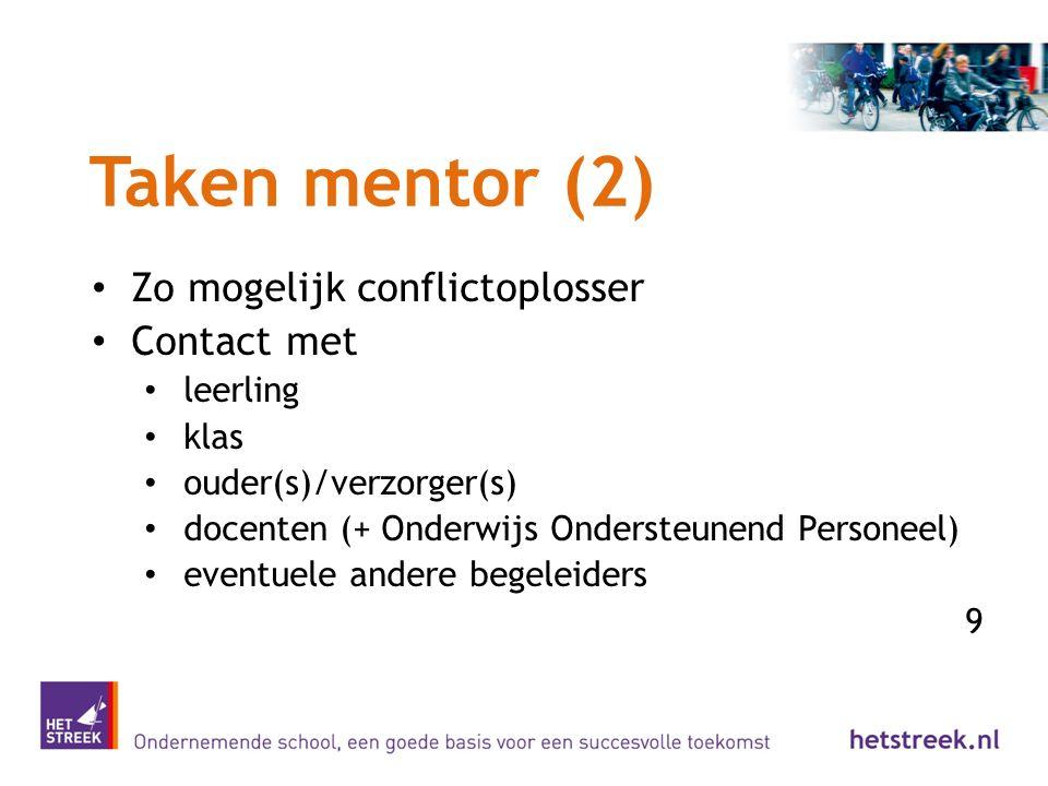 Taken mentor (2) Zo mogelijk conflictoplosser Contact met leerling