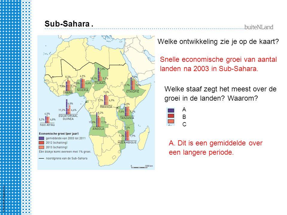 Sub-Sahara . Welke ontwikkeling zie je op de kaart