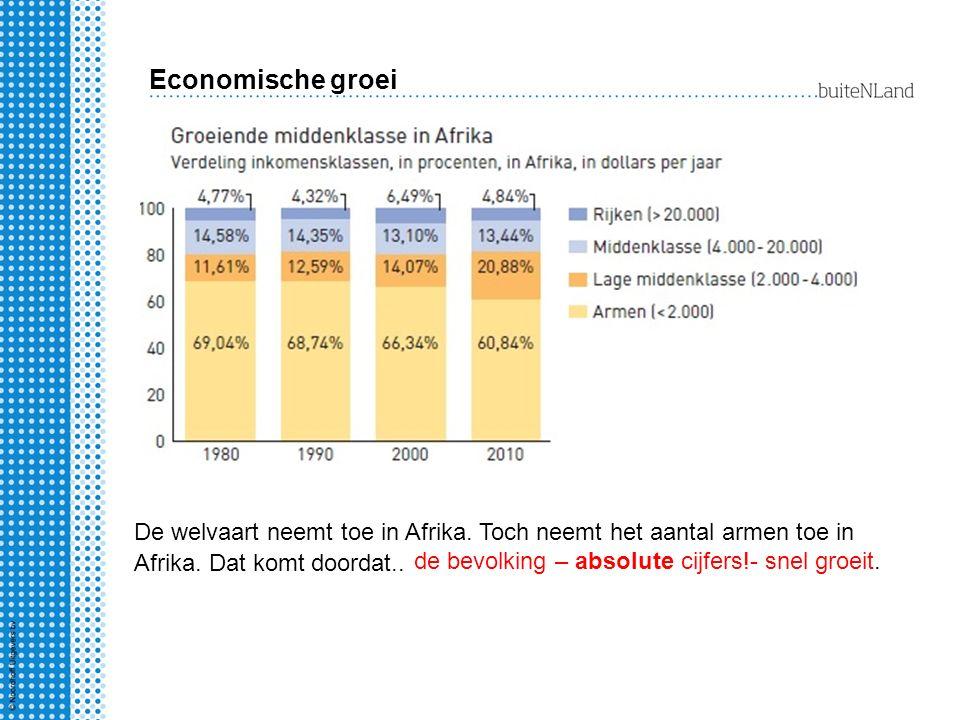Economische groei De welvaart neemt toe in Afrika. Toch neemt het aantal armen toe in Afrika. Dat komt doordat..
