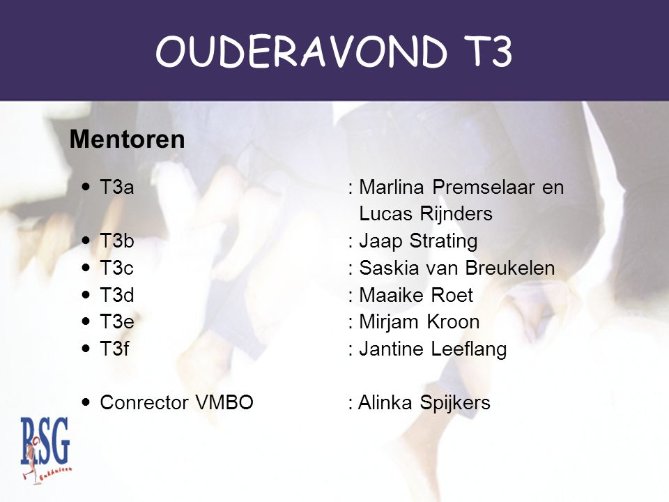 OUDERAVOND T3 Mentoren T3a : Marlina Premselaar en Lucas Rijnders
