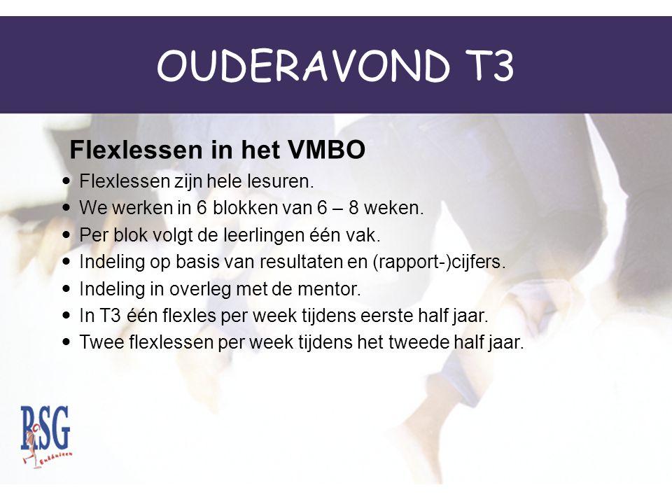OUDERAVOND T3 Flexlessen in het VMBO Flexlessen zijn hele lesuren.