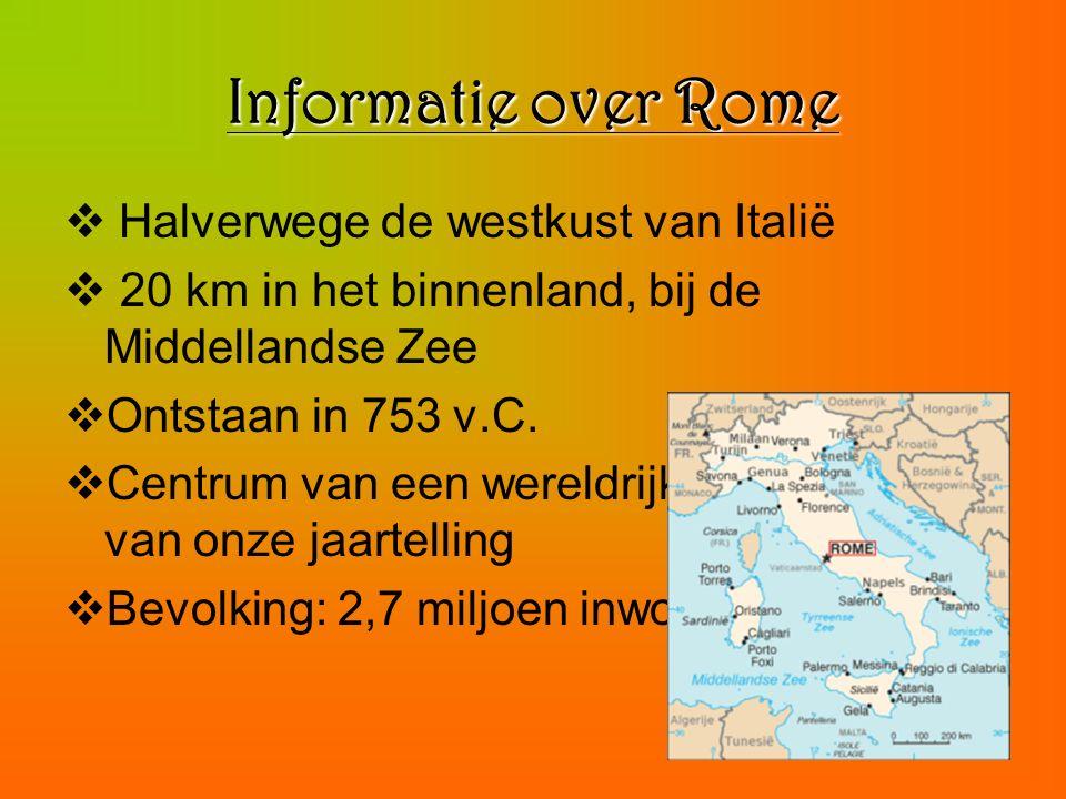 Informatie over Rome Halverwege de westkust van Italië