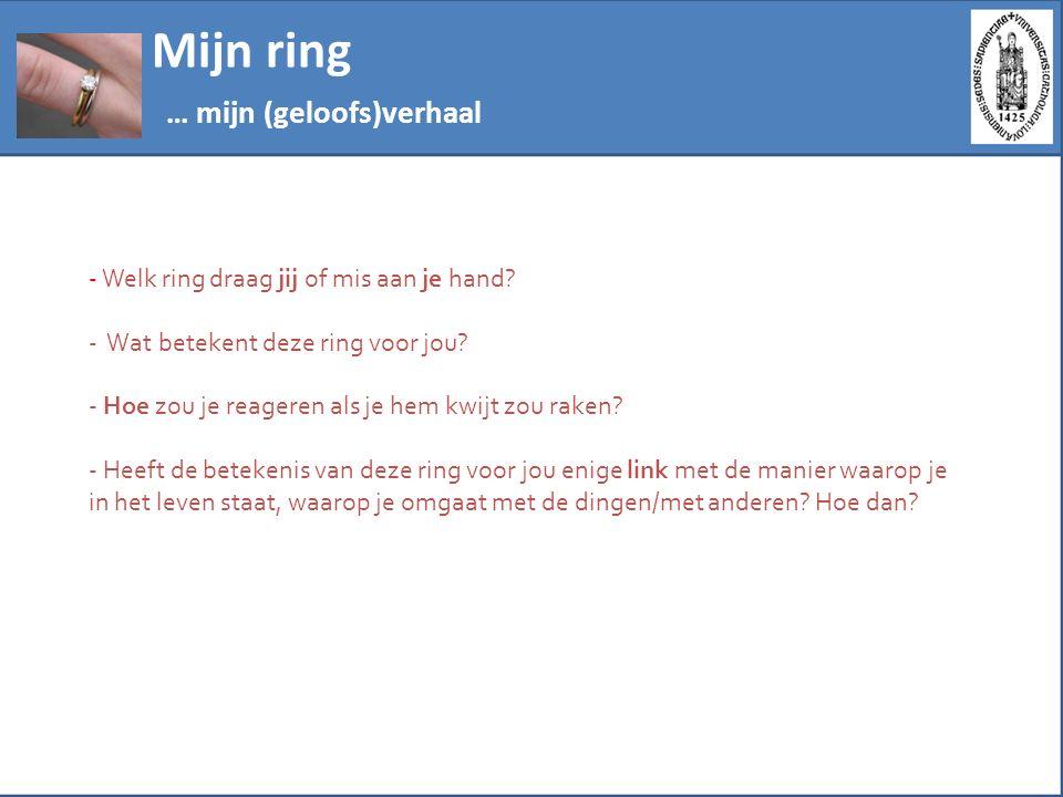 Mijn ring … mijn (geloofs)verhaal