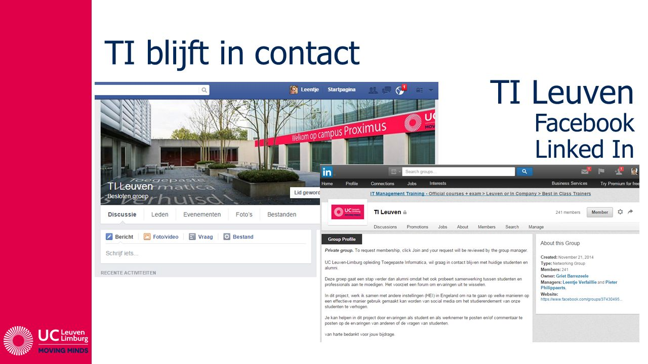 TI blijft in contact TI Leuven Facebook Linked In