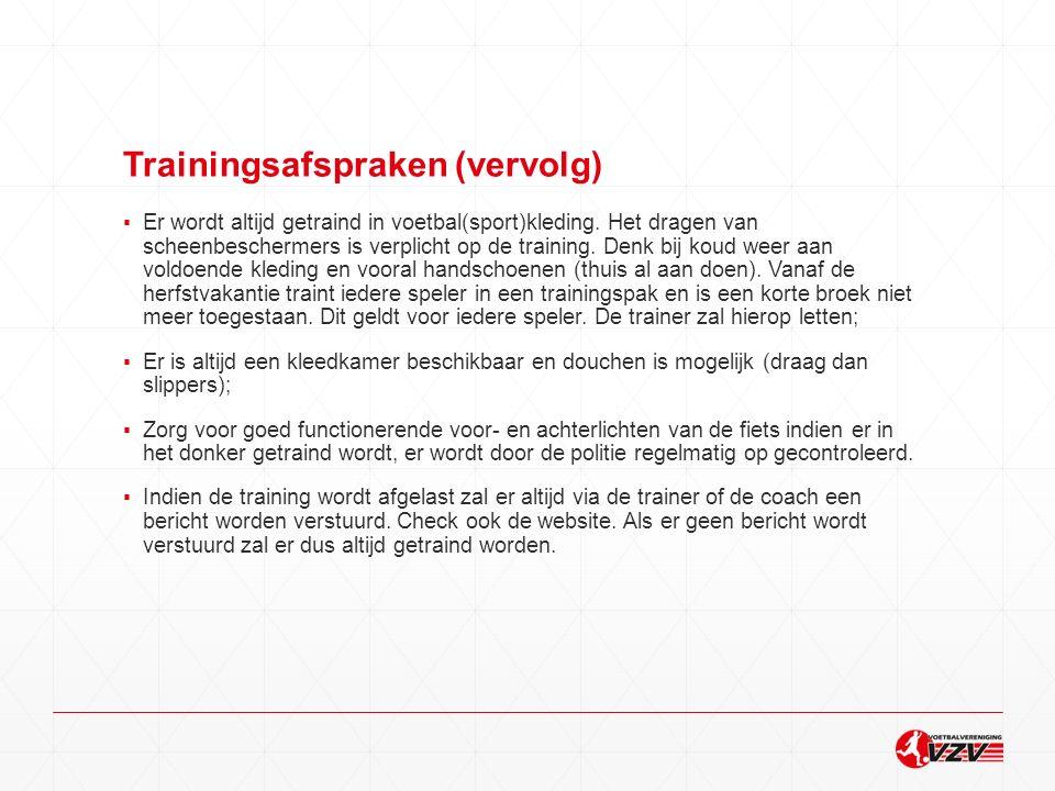 Trainingsafspraken (vervolg)