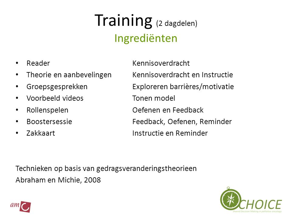 Training (2 dagdelen) Ingrediënten