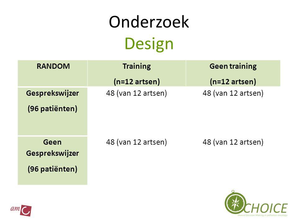 Onderzoek Design RANDOM Training (n=12 artsen) Geen training