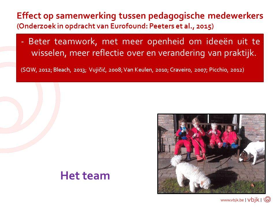 Effect op samenwerking tussen pedagogische medewerkers (Onderzoek in opdracht van Eurofound: Peeters et al., 2015)