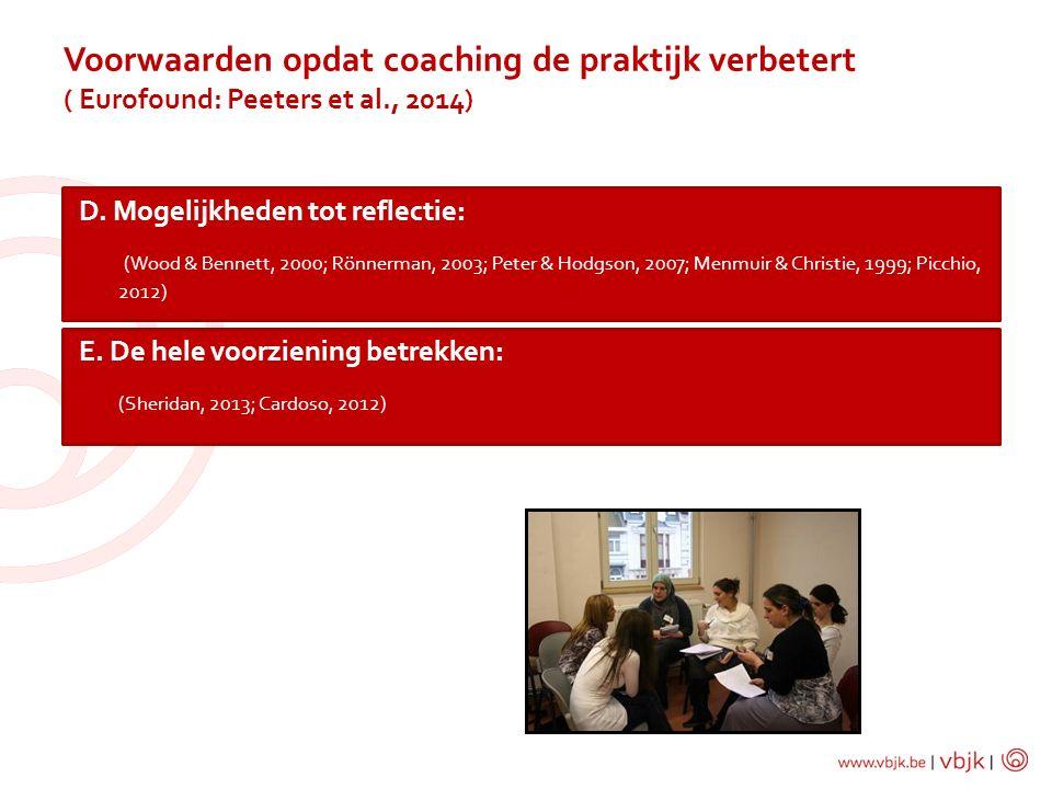 Voorwaarden opdat coaching de praktijk verbetert ( Eurofound: Peeters et al., 2014)