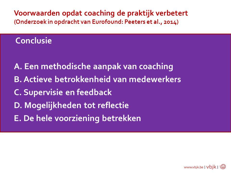 Voorwaarden opdat coaching de praktijk verbetert (Onderzoek in opdracht van Eurofound: Peeters et al., 2014)