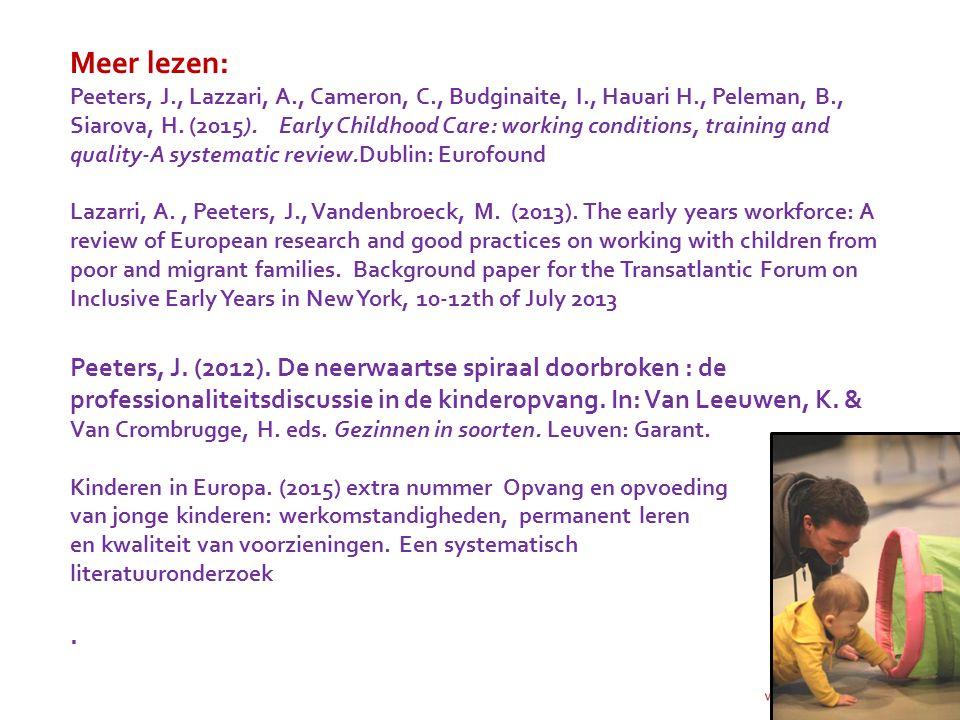 Meer lezen: Peeters, J. , Lazzari, A. , Cameron, C. , Budginaite, I
