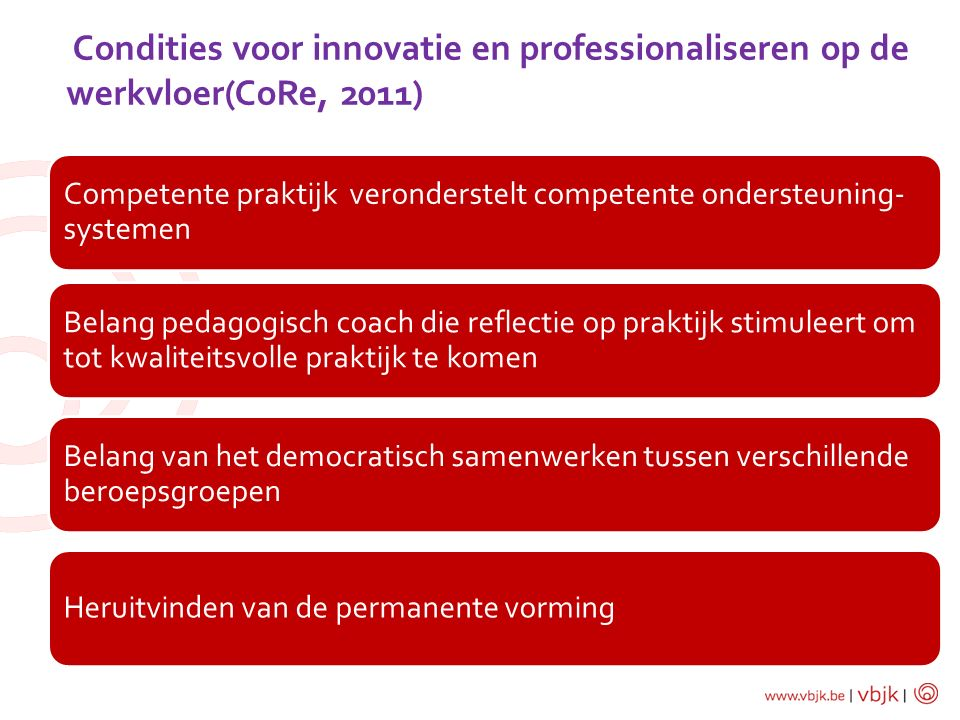 Condities voor innovatie en professionaliseren op de werkvloer(CoRe, 2011)