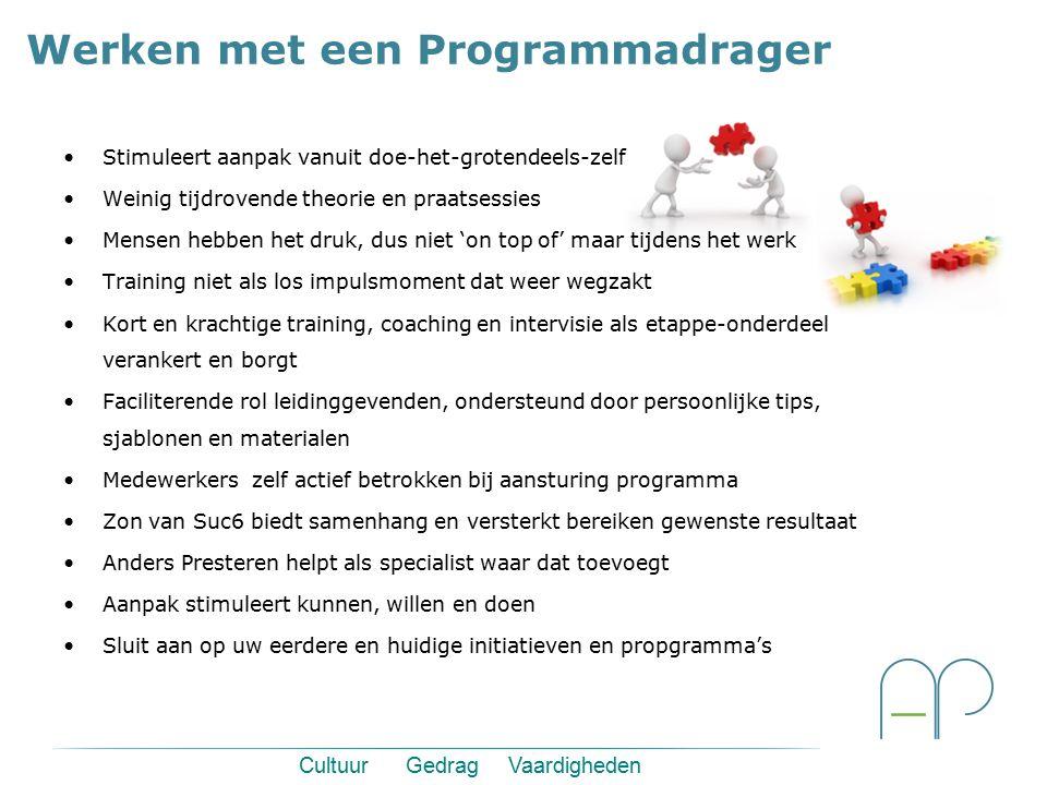 Werken met een Programmadrager