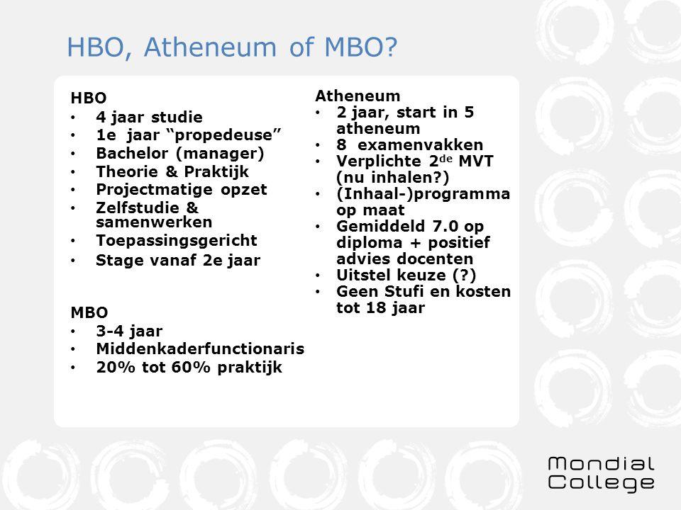 HBO, Atheneum of MBO HBO Atheneum 2 jaar, start in 5 atheneum