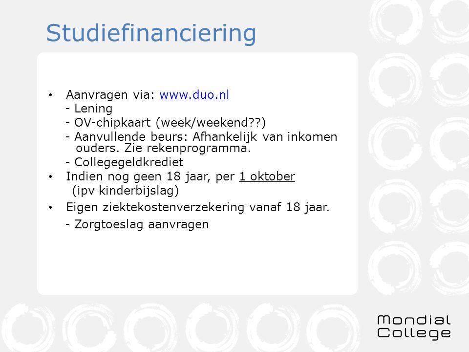 Studiefinanciering Aanvragen via: www.duo.nl - Lening