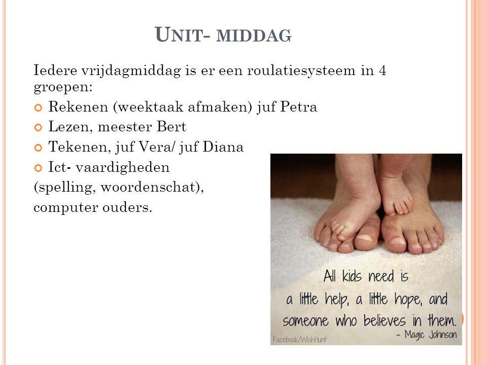 Unit- middag Iedere vrijdagmiddag is er een roulatiesysteem in 4 groepen: Rekenen (weektaak afmaken) juf Petra.