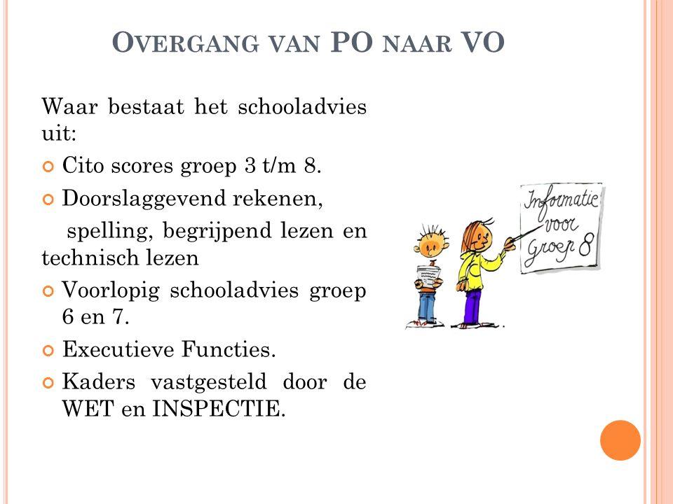 Overgang van PO naar VO Waar bestaat het schooladvies uit: