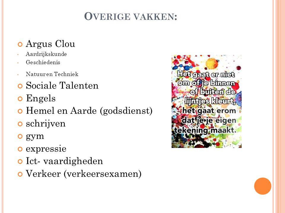 Overige vakken: Argus Clou Sociale Talenten Engels