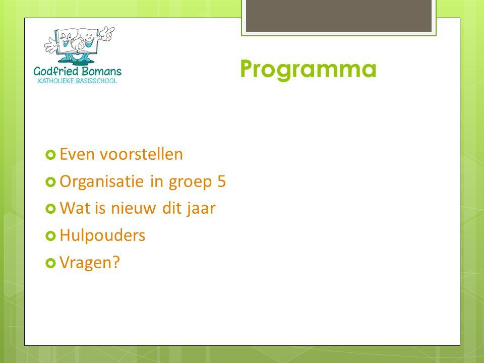 Programma Even voorstellen Organisatie in groep 5