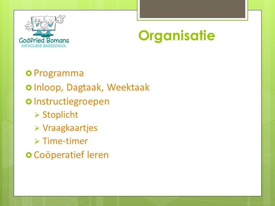Organisatie Programma Inloop, Dagtaak, Weektaak Instructiegroepen